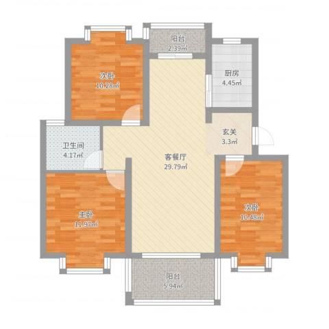 蓝庭国际3室2厅1卫1厨99.00㎡户型图