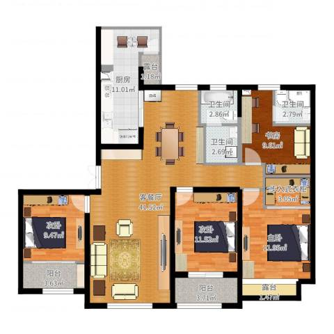 天安曼哈顿4室2厅3卫1厨116.45㎡户型图