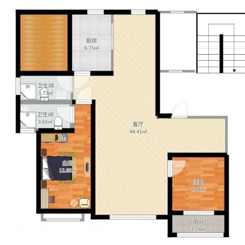 邢台玫瑰镇2室1厅2卫1厨114.00㎡户型图