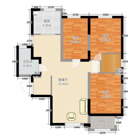 上城浩林园3室2厅1卫1厨125.00㎡户型图