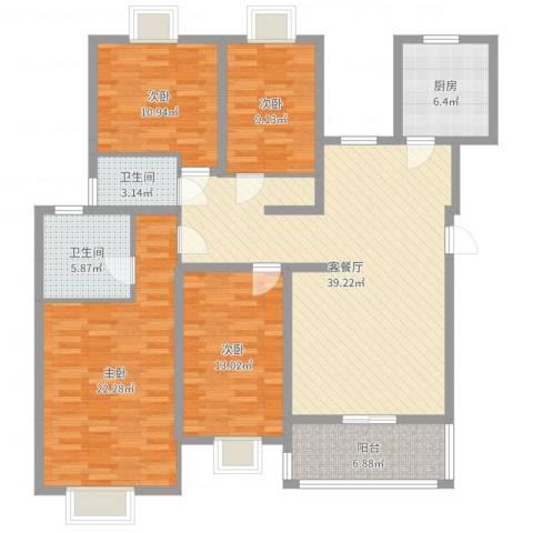 金鼎花园4室2厅2卫1厨146.00㎡户型图