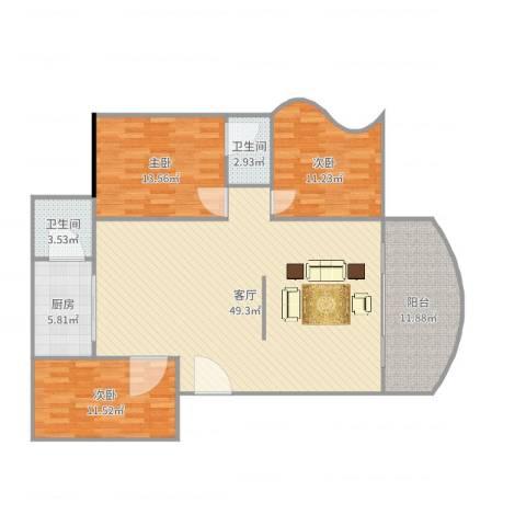金丽花园3室1厅2卫1厨137.00㎡户型图