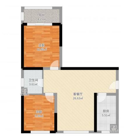 周新苑5期2室2厅1卫1厨96.00㎡户型图