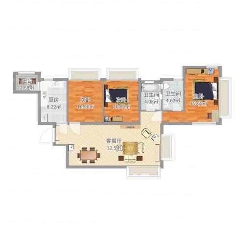 湖畔天下3室2厅2卫1厨112.00㎡户型图