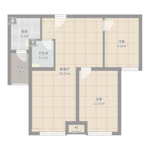 首尔甜城2室2厅1卫1厨78.00㎡户型图