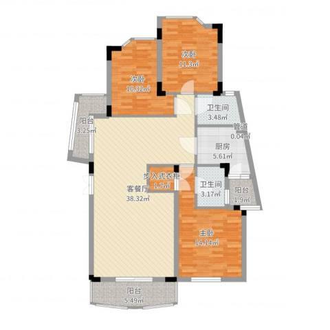 龙湖西苑3室2厅3卫1厨123.00㎡户型图