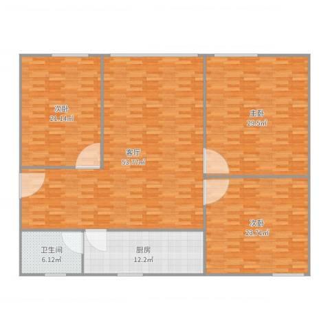 福盛花苑3室1厅1卫1厨183.00㎡户型图