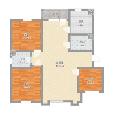 乐活・两岸568庄园3室2厅5卫1厨115.00㎡户型图