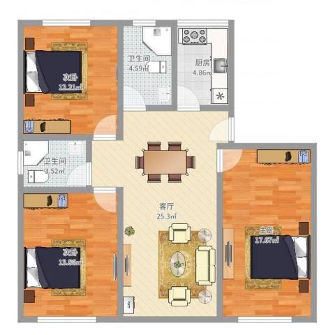 临河小区3室1厅2卫1厨103.00㎡户型图