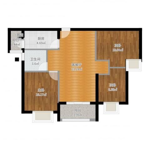 瑜翠园3室2厅1卫1厨80.00㎡户型图