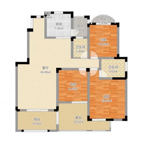 蓝光十里蓝山3室1厅2卫1厨160.00㎡户型图