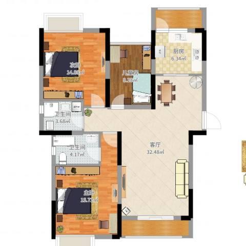 春华星运城3室1厅2卫1厨114.00㎡户型图