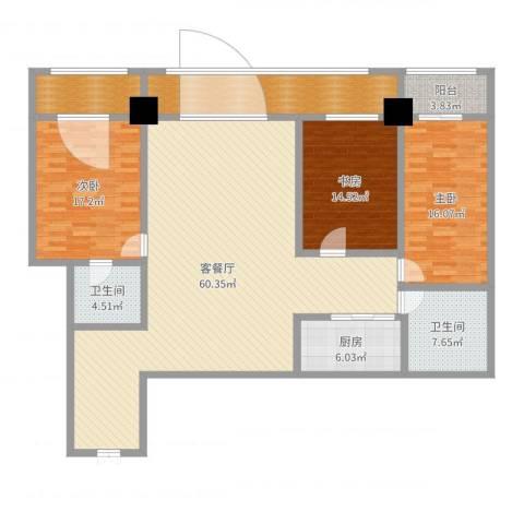 珠江名府3室2厅3卫1厨183.00㎡户型图