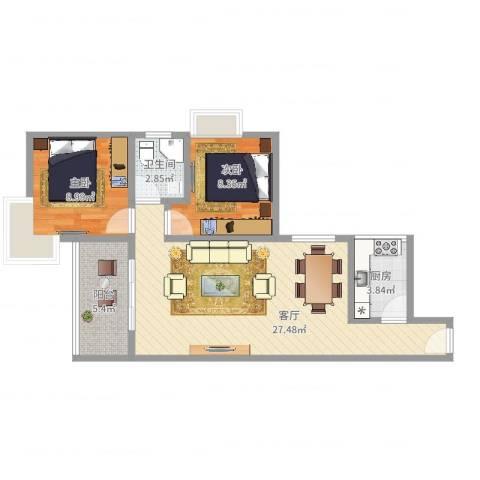 今日丽舍2室1厅1卫1厨56.91㎡户型图