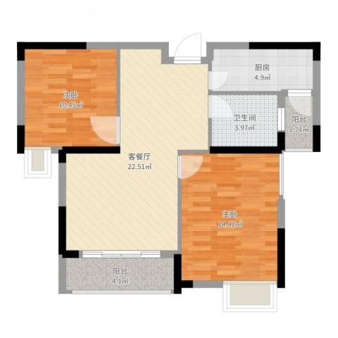 春华星运城2室2厅1卫1厨78.00㎡户型图