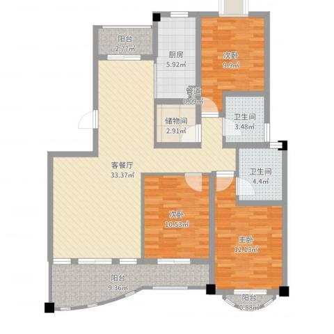 文化花园明珠苑3室2厅2卫1厨120.00㎡户型图