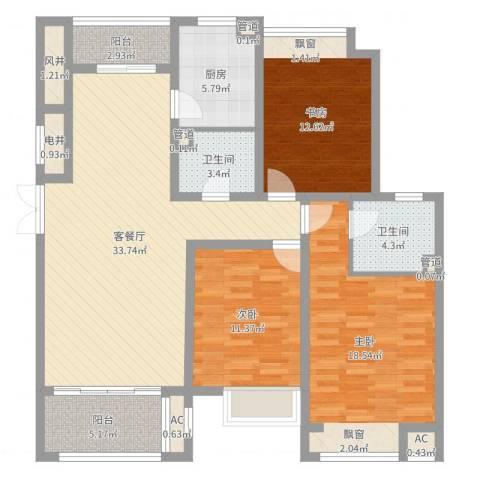 舜奥华府3室2厅2卫1厨127.00㎡户型图