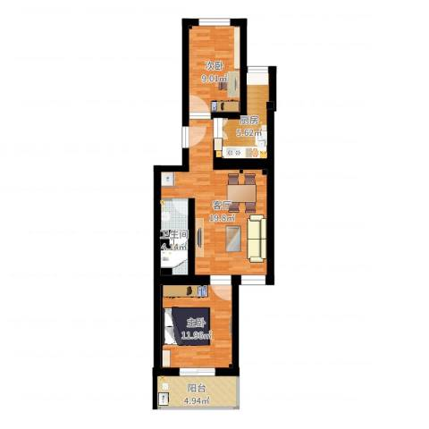 南湖东园一区2室1厅1卫1厨69.00㎡户型图