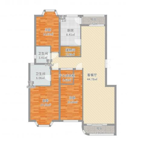 汤泉逸墅3室2厅2卫1厨147.00㎡户型图