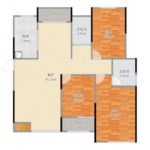 凯旋公馆3室1厅2卫1厨130.00㎡户型图