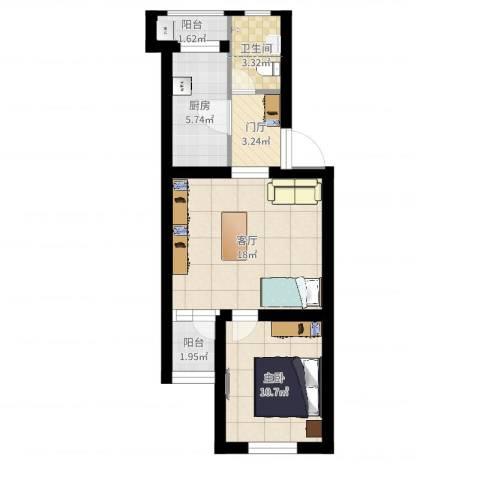 龙华园东区1室1厅1卫1厨58.00㎡户型图