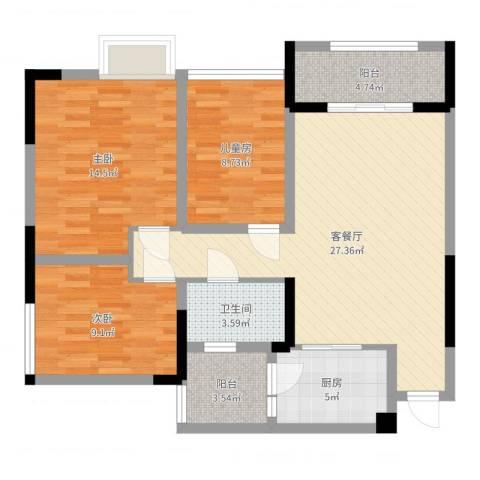 泽胜中央广场3室2厅1卫1厨96.00㎡户型图