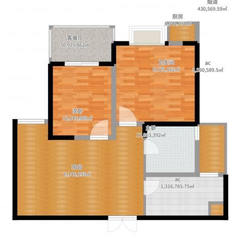 唐园假日新城2室2厅1卫1厨124.00㎡户型图