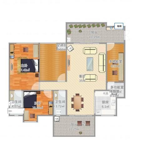 景源公园一号2室1厅4卫1厨153.00㎡户型图