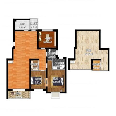 桂竹花园二期3室2厅2卫1厨144.14㎡户型图