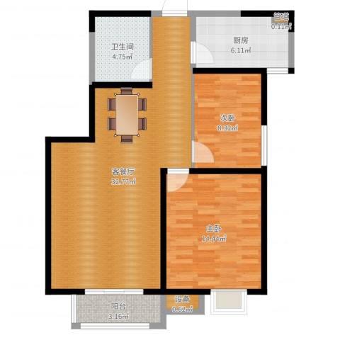 高科尚都2室2厅1卫1厨88.00㎡户型图
