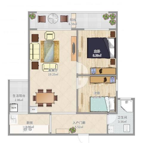 幸福里2室2厅1卫1厨71.00㎡户型图