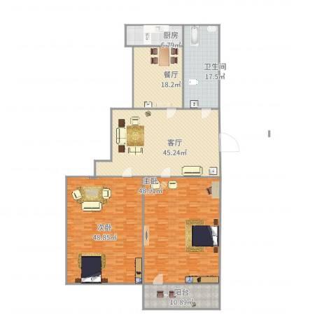 洪楼小区2室2厅1卫1厨257.00㎡户型图