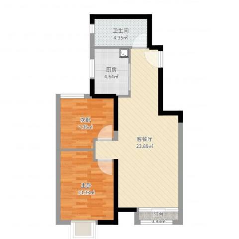 路劲太阳城时光里2室2厅1卫1厨64.00㎡户型图