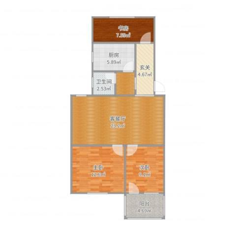 府河小区3室2厅2卫1厨91.00㎡户型图