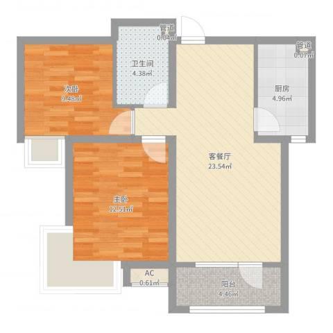 富奥花园C区2室2厅1卫1厨75.00㎡户型图
