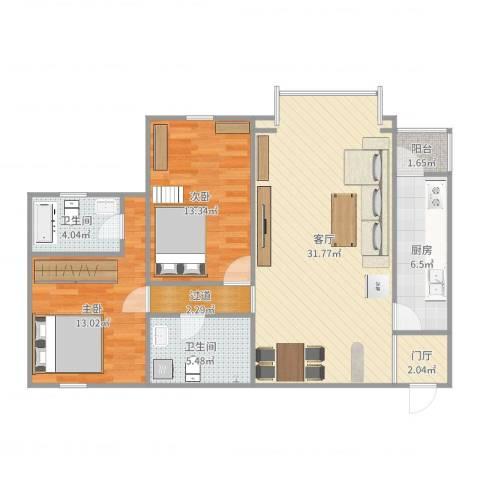北苑家园茉藜园2室1厅2卫1厨100.00㎡户型图