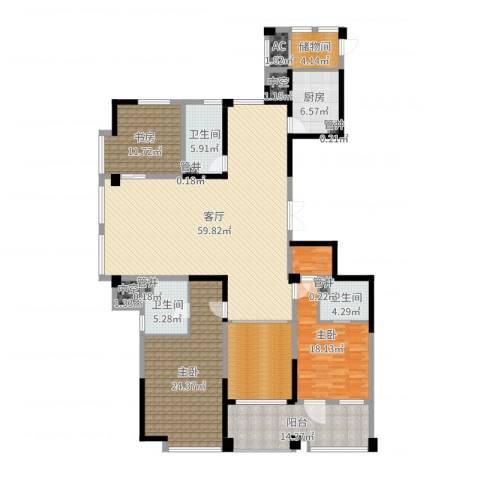 宁海世贸中心3室1厅3卫1厨214.00㎡户型图