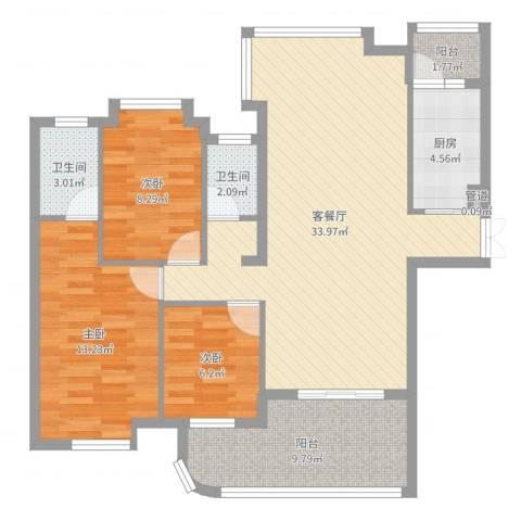 泰豪绿湖新村3室2厅2卫1厨104.00㎡户型图