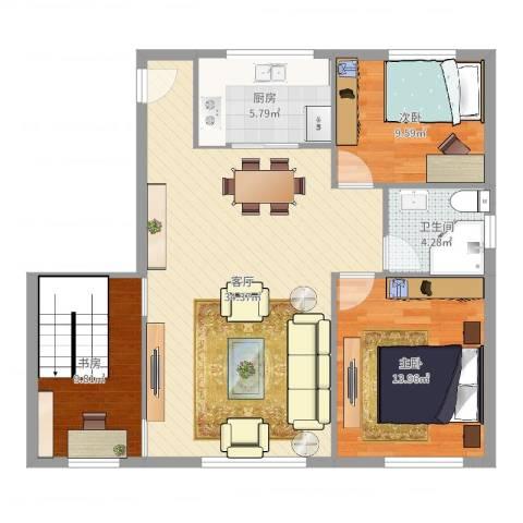 钱湖人家3室1厅1卫1厨97.00㎡户型图