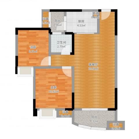 保利・康桥2室2厅1卫1厨76.00㎡户型图