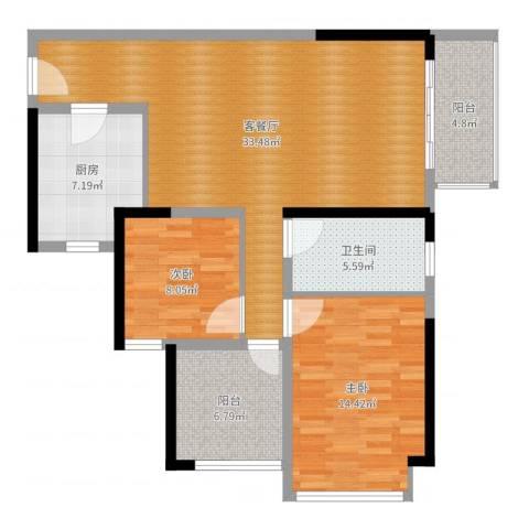 坪山招商花园城2室2厅1卫1厨100.00㎡户型图