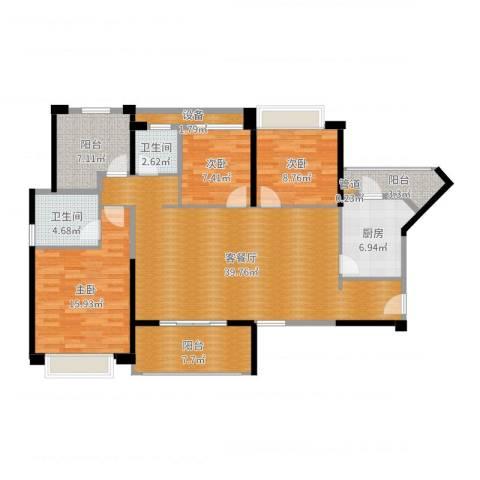 坪山招商花园城3室2厅2卫1厨133.00㎡户型图