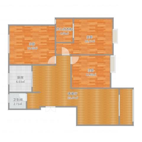奥林春天11号楼8013室2厅1卫1厨125.00㎡户型图