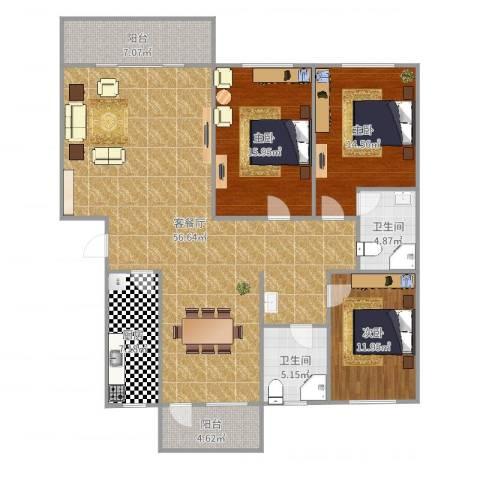 太微花园3室2厅2卫1厨130.00㎡户型图