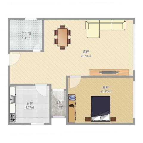 水悦城邦1栋1座1室1厅1卫1厨69.00㎡户型图
