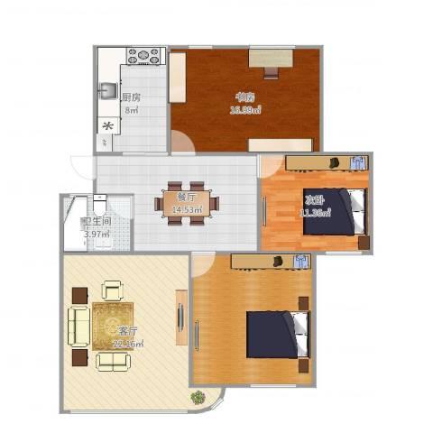 光复新苑2室2厅1卫1厨118.00㎡户型图
