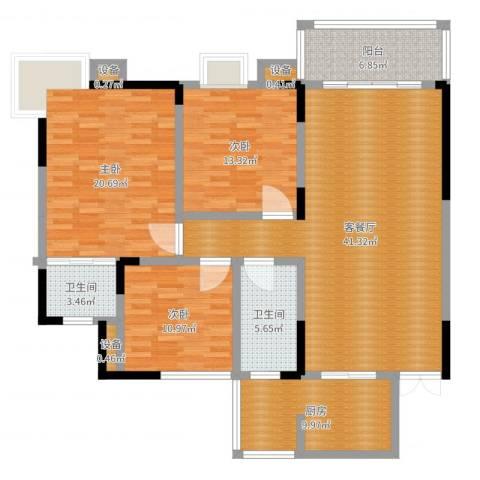 长盛花园3室2厅2卫1厨142.00㎡户型图