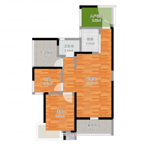 金汇上元2室1厅4卫1厨80.00㎡户型图