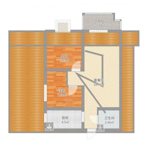 昌仁里小区2室2厅1卫1厨104.00㎡户型图