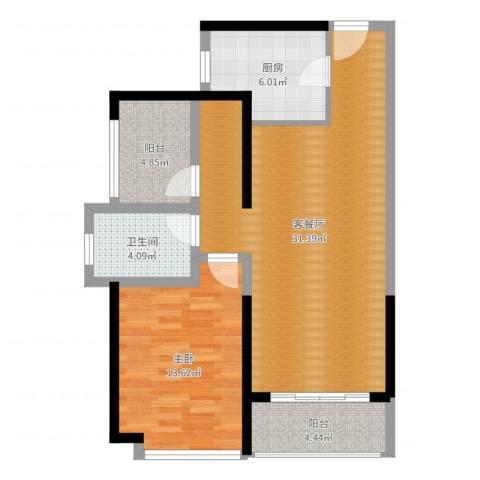 坪山招商花园城1室2厅1卫1厨81.00㎡户型图